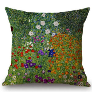 Gustav Klimt Inspired Cushion Covers Farm Garden With Sunflower Cushion Cover
