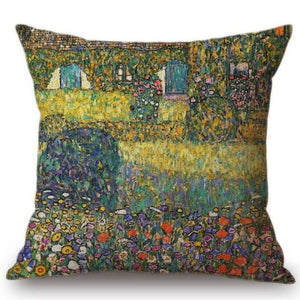 Gustav Klimt Inspired Cushion Covers Country House By The Attersee Cushion Cover