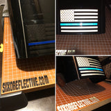"Thin Blue Line Reflective American Flag 4"" W x 3""H"
