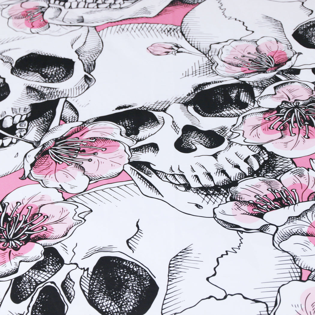 Dropship Sugar Skull Bedding Set Cherry Blossoms Duvet Cover Set Pink Floral 3-Piece - Dropshipful.com