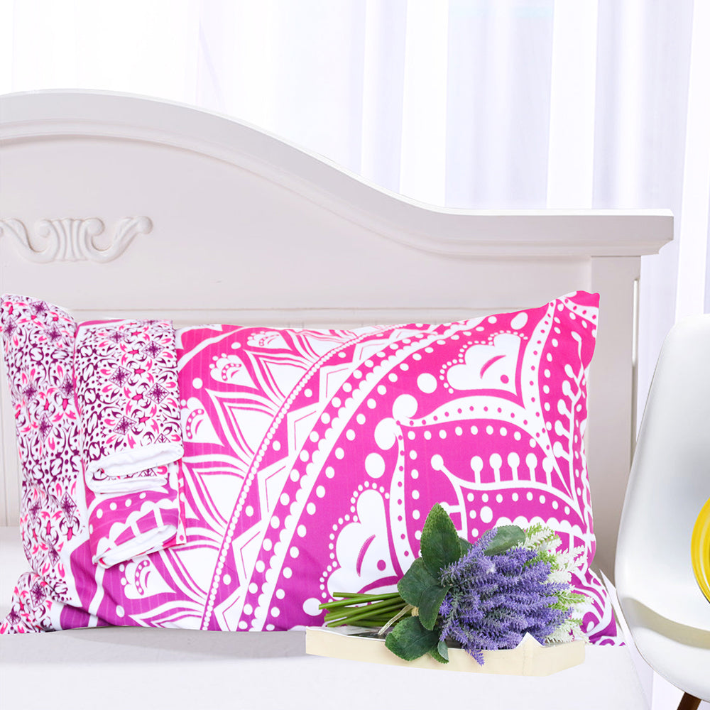 Dropshipful Pink Mandala Flower Duvet Cover Set With Pillowcase  3Pcs - Dropshipful.com