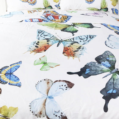 Dropship 3 Pieces Flying Butterflies Duvet Cover Set Butterfly Collection Bedding Set - Dropshipful.com