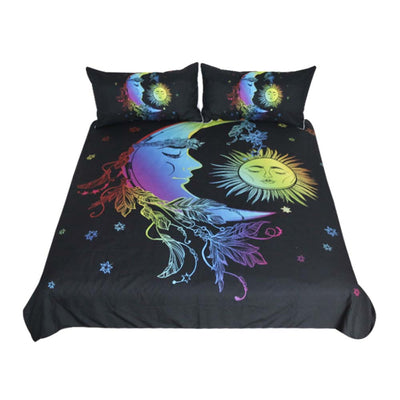 Dropshipful Moon Accompanies Sun Duvet Cover Colorful Printed Bedding  3pcs - Dropshipful.com