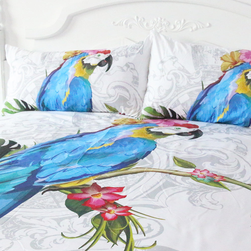 Dropshipful Macaw Art Duvet Cover Set 3 Pieces Bird Morning Glories 3D Vivid Animal Print Bedding Set - Dropshipful.com