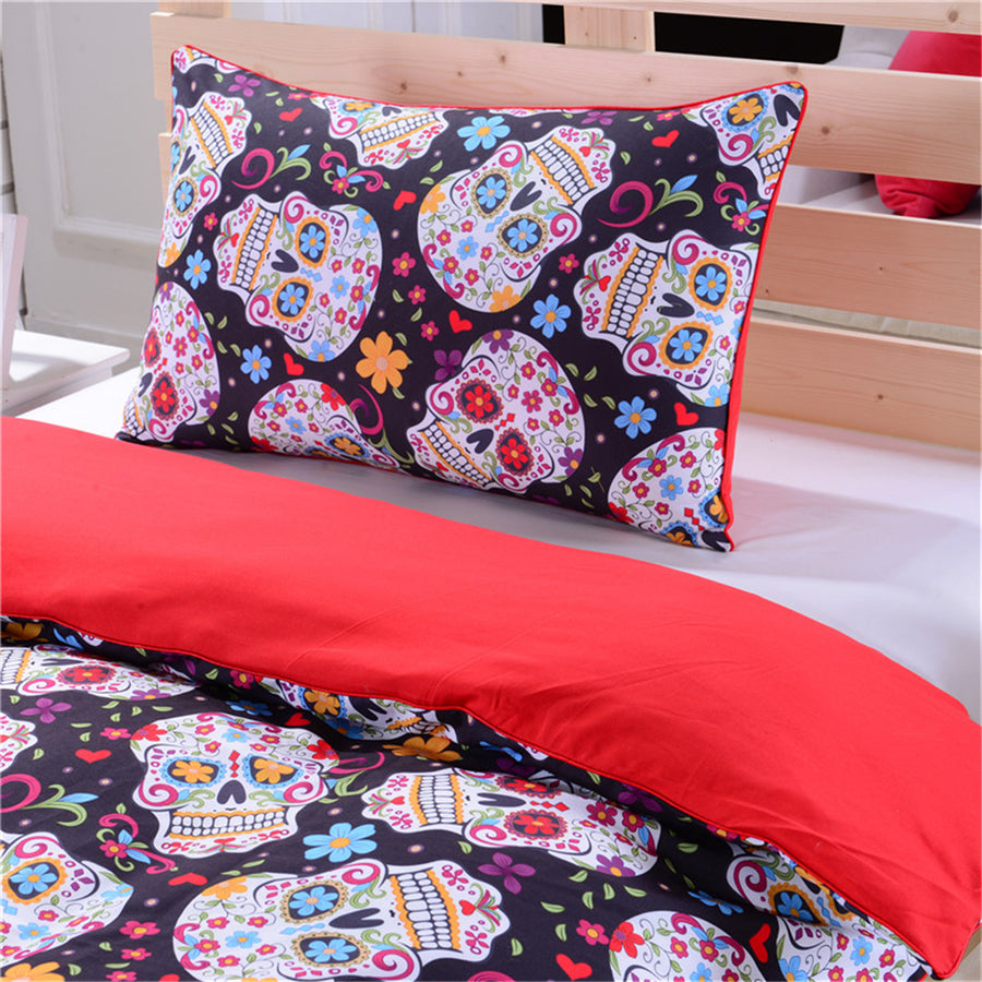 Dropship 3Pcs Sugar Skull Duvet Cover With Pillowcases Halloween Home Bedding Set - Dropshipful.com