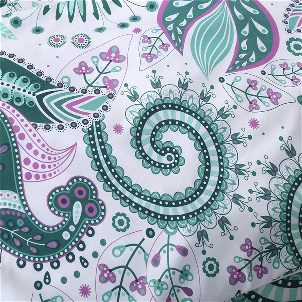 Dropshipful Green Bedding Set  Floral Paisley Duvet Cover with Pillowcase 3 Pcs - Dropshipful.com