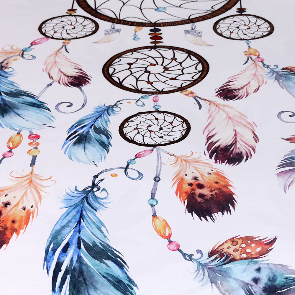 Dropship Dreamcatcher Bedding Set  Boho Floral Duvet Cover Set 3pcs - Dropshipful.com
