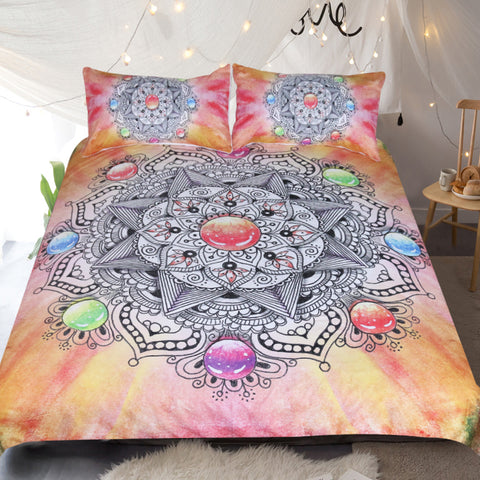 Dropshipful Mandala Floral Bedding Set Colorful Crystal Gemstone Duvet Cover With Pillowcases 3pcs - Dropshipful.com