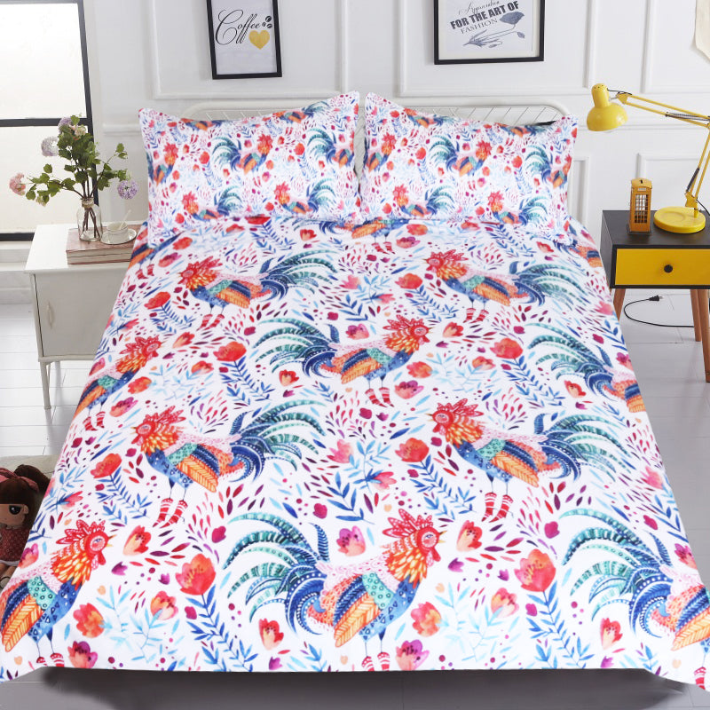 Dropship Colorful Cook Kids Bedding Set Cartoon Floral Girls Duvet Cover Set 3Pcs - Dropshipful.com