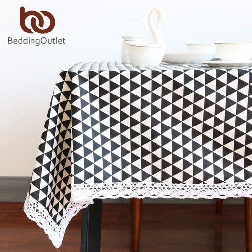 Dropshipful Black Triangle Tablecloth Cotton Linen Dinner Simple Table Cloth Macrame Decoration Lacy Table Cover Europe Hot - Dropshipful.com