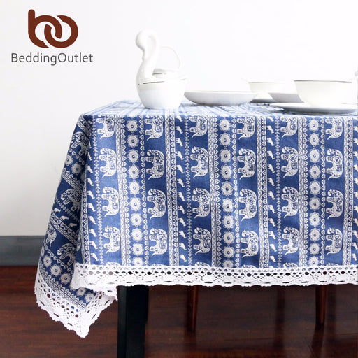 Dropshipful Blue Elephant Cartoon Tablecloth Cotton Linen Dinner Table Cloth Macrame Decoration Lacy Table Cover Washable Hot - Dropshipful.com