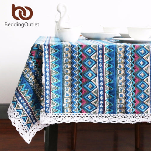 Dropshipful Blue Tablecloth Ethnic Style Linen Fabric Dining Table Cover Boho Printed Rectangle Table Cloth With Lace - Dropshipful.com