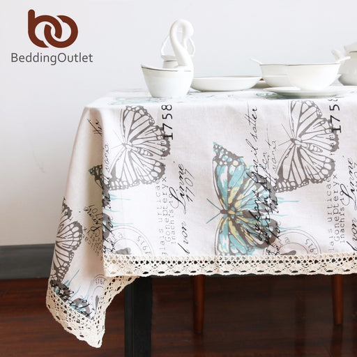 Dropshipful Butterfly Tablecloth Cotton Linen Dinner Table Cloth Insect Macrame Decoration Lacy Table Cover Pastoral Washable - Dropshipful.com
