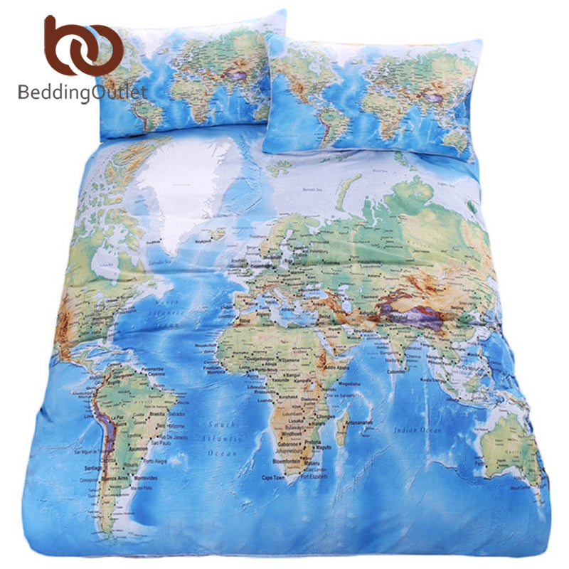Dropshipful World Map Bedding Set Vivid Printed Blue Bed Duvet Cover with Pillowcase Twill Cozy Home Textiles Queen Sizes 3pcs - Dropshipful.com