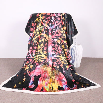 Bohemian Microfiber Elephant Sherpa Blanket   Mandala Tree Fleece Throw  Blanket - Dropshipful.com