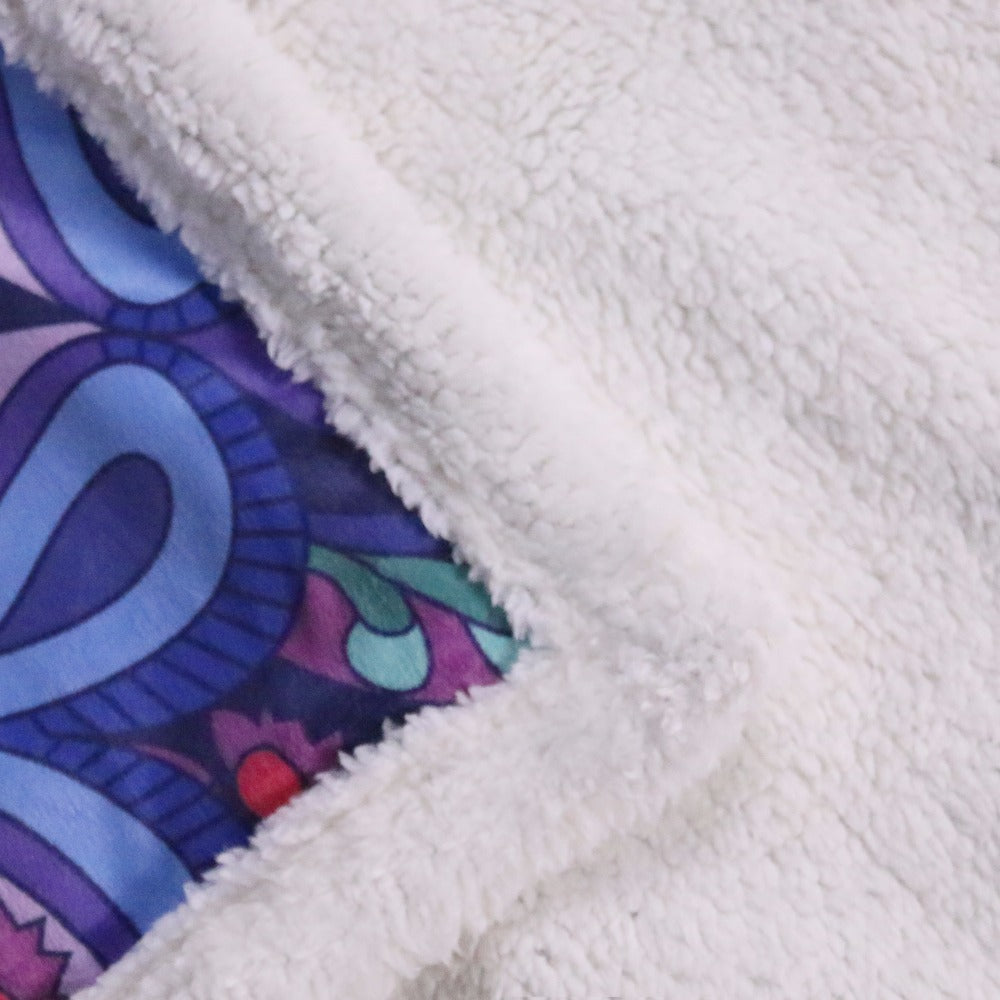 Microfiber Velvet Plush Reversible Sherpa Blanket Pink and Purple Glowing Mandala Pattern Fleece Blanket - Dropshipful.com