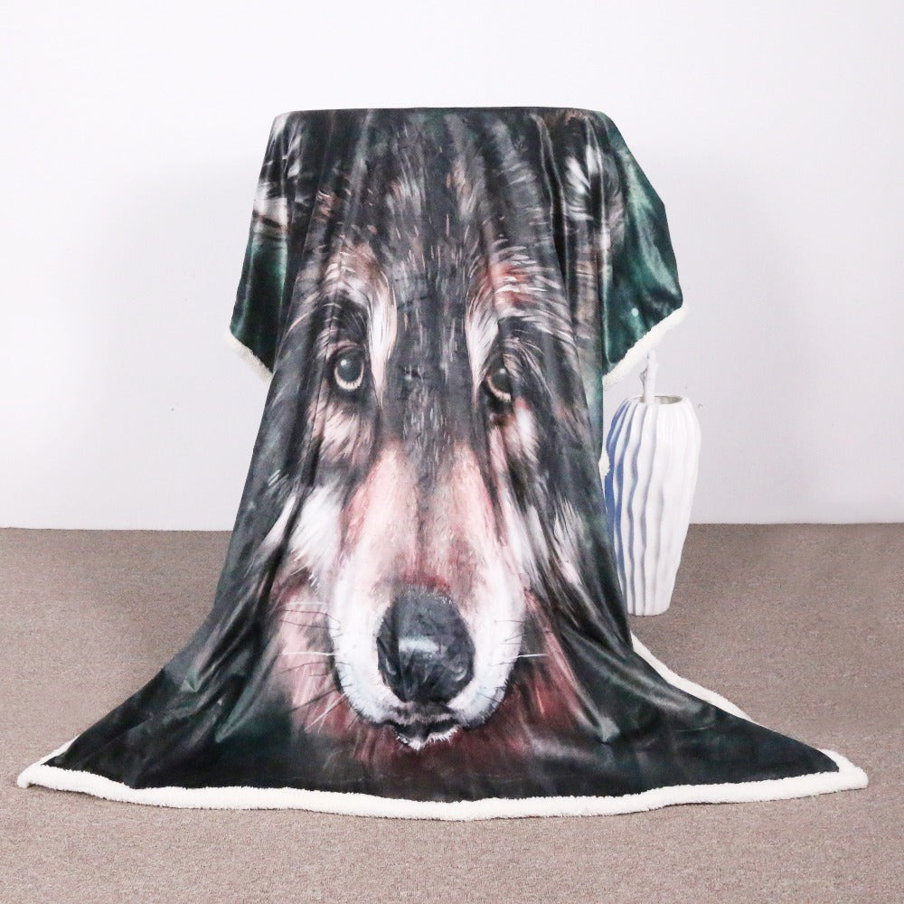 Sherpa Throw Blanket Black Wolf Art Painting Bed Blankets Crystal  Sherpa Blanket - Dropshipful.com