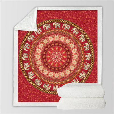 Mandala Sherpa Throw Blanket Turquoise Indian Red Elephant Messenger Sherpa Fleece Blanket - Dropshipful.com