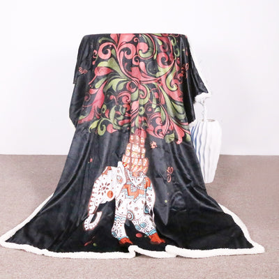 Sherpa Throw Blanket India Hippie Elephant Bed Blankets Sherpa Back Throw Blanket - Dropshipful.com