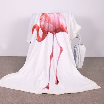 Girly Animal Throw Blanket Adorable Flamingo Pattern Sherpa Throw Blanket - Dropshipful.com