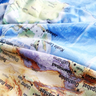 Blue Sherpa Throw Blanket World Map Vivid Printed Sherpa Fleece Blanket Super Throw Blanket - Dropshipful.com