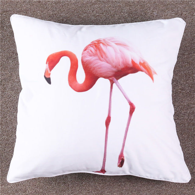 Microfiber Pink Flamingo on White Cushion Cover Simple Adorable Bird Pattern Pillow Case - Dropshipful.com