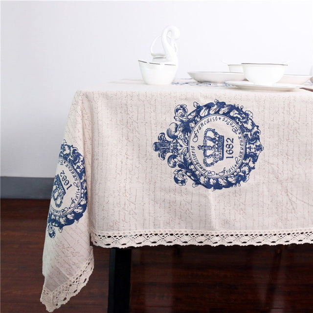 Dropshipful Crown Tablecloth Dinner Table Cloth Cotton Linen Rectangular Lacy Table Cover Macrame Home Decor  Europe Style - Dropshipful.com
