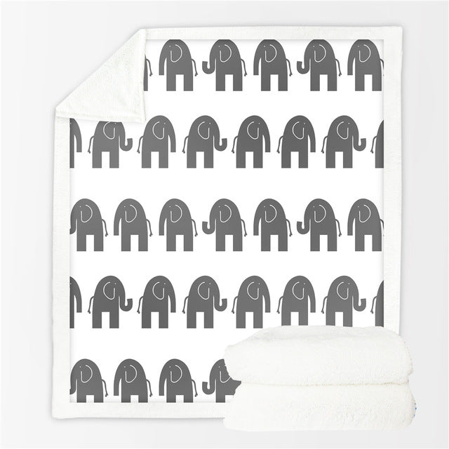 Sherpa Throw Blanket Black Elephant Painting Bed Blankets Crystal Throw Blanket - Dropshipful.com