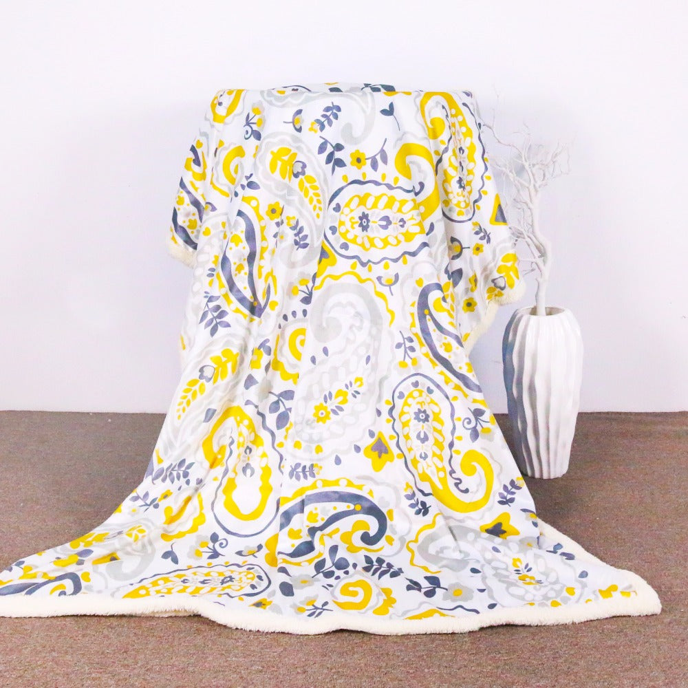 Microfiber Sherpa Blanket Bohemia Yellow Paisley Floral Fleece Throw Blanket - Dropshipful.com