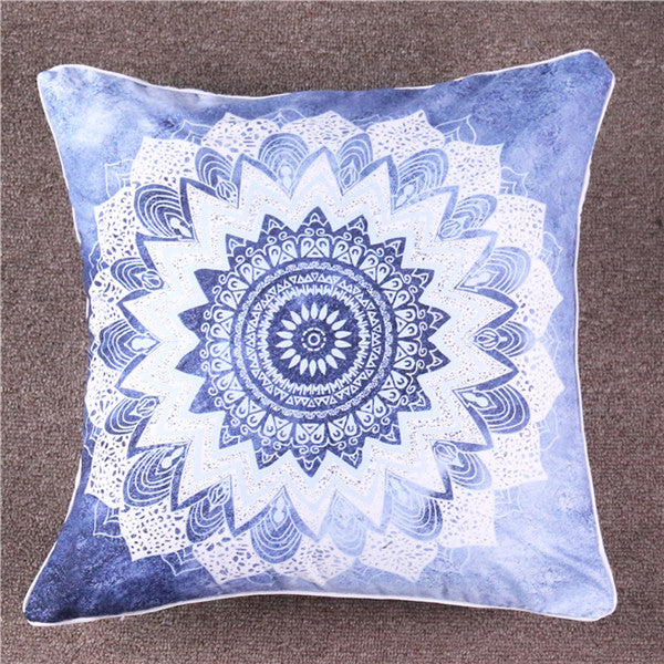 Dropshipful Vintage Cobalt Blue Mandala Cushion Cover Hippie Gypsy Bohemian Floral Pillow Case Paisley Cover Microfiber Soft - Dropshipful.com