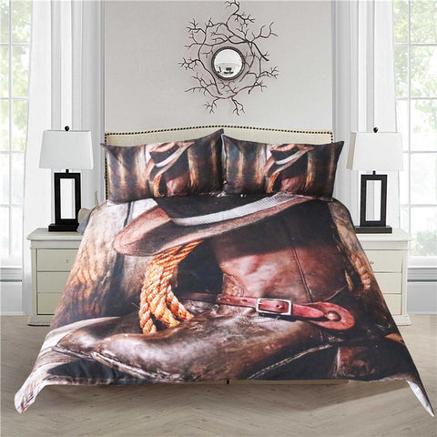 Dropship Cool Western Cowboy Bedding Set Hat On The Boots Duvet Cover Set with Pillowcases 3 Pieces - Dropshipful.com