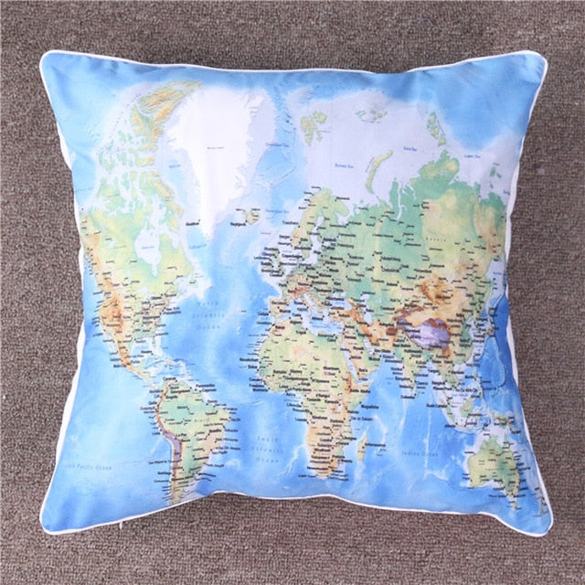 Dropshipful World's Map Vivid Printed Cushion Cover Blue Pillow Case Microfiber Soft Throw Cover For Young People 2 Sizes - Dropshipful.com
