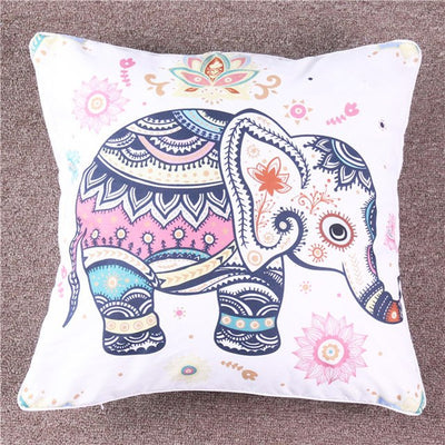 Rainbow Mandala Elephant Cushion Cover Bohemian Pastel Floral Pillow Case Microfiber Soft Throw Cover - Dropshipful.com