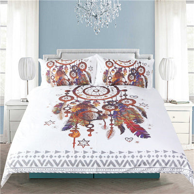 Dropshipful Hipster Watercolor Bedding Set Queen Size Dreamcatcher Feathers Duvet Cover Bohemian Printed Bed Cover 3 Pcs - Dropshipful.com