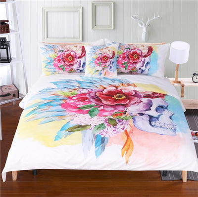 Dropshipful Colorful Skull and Floral Duvet Cover Set 4 Pieces Super Soft Bedclothes Flowers Printed Bedding Set Luxury - Dropshipful.com