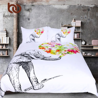 Dropshipful Elephant Duvet Cover Set Mandala Bedding White Bedding Set King Flower Print Quilt Cover 3 Piece Bedspreads - Dropshipful.com