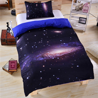 Dropshipful Hipster Galaxy Bedding Set Universe Outer Space Themed 3d Print Duvet Cover with Pillowcases Soft Home Textiles - Dropshipful.com