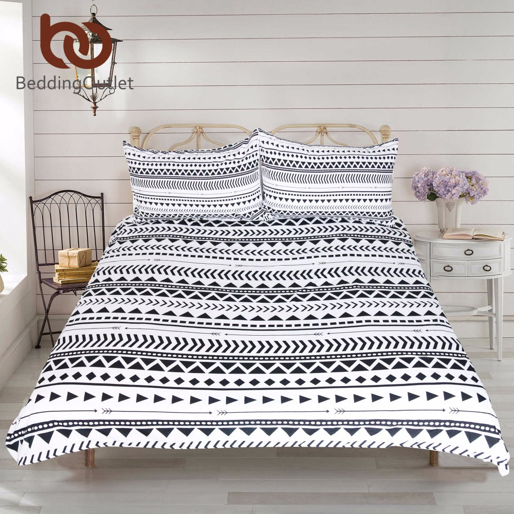 Dropshipful 3Pcs Black White Striped Duvet Cover Set Modern Chic Reversible Geometric Printed Bedding Set Soft Bed Cover - Dropshipful.com
