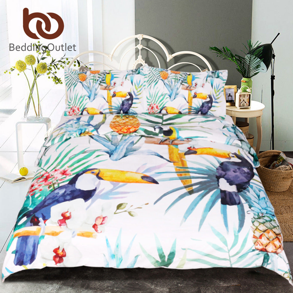 Dropshipful 3 Pcs Toucan Duvet Cover With Pillowcase Tropical Plant Pineapple Bedding Set Soft Flower Quilt Cover Wholesale - Dropshipful.com