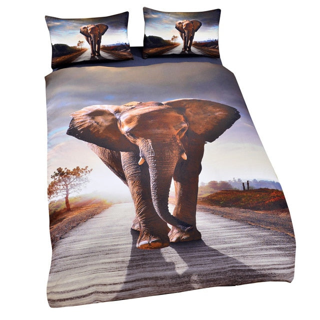 Dropshipful 3d Elephant Duvet Cover Set Indian Bedclothes Kids Single Boy Bedding Set Animal Print Quilt Cover 3 Piece - Dropshipful.com