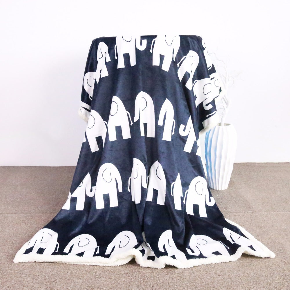 Super Soft Cozy Velvet Plush Throw Blanket Cute Elephant on Blue Background Sherpa Blanket - Dropshipful.com