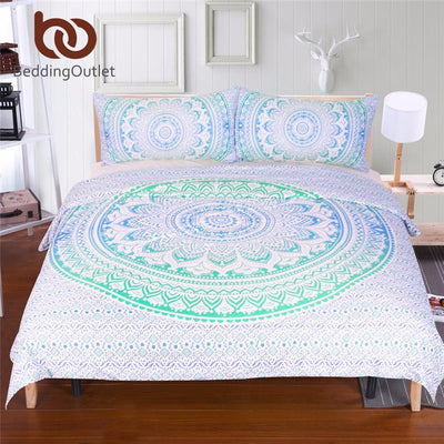 Dropshipful Blue and Green Mandala Flower Duvet Cover Set With Pillowcase Bohemia Bedding Set Soft Fresh Quilt Cover Set 3Pcs - Dropshipful.com