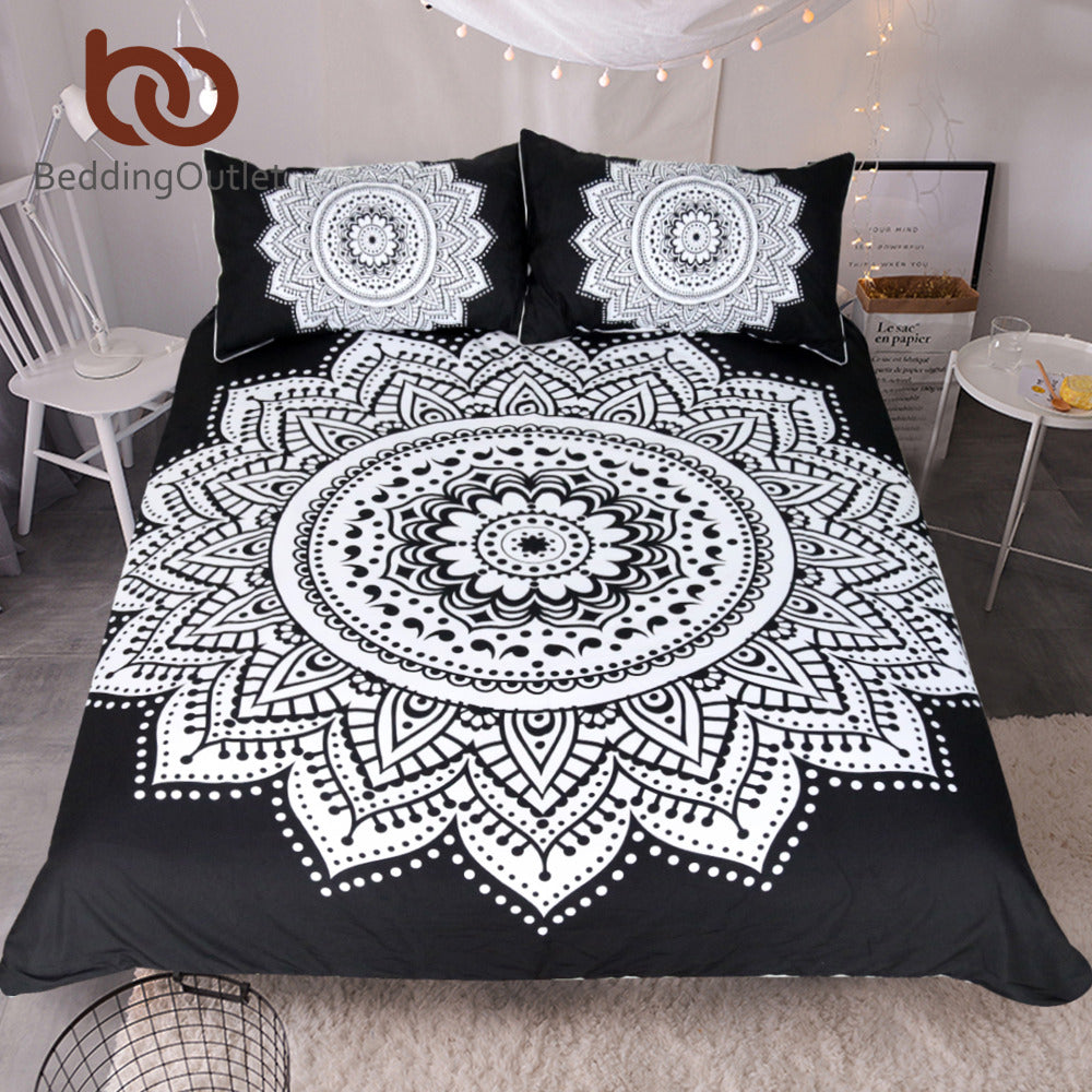 Dropshipful Mandala Print Bedding Set Queen Size Floral Pattern Duvet Cover Black and White Bohemian Bedclothes Lotus Bed Set - Dropshipful.com