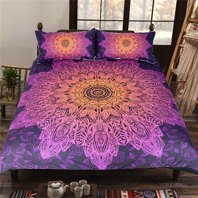 Dropship Bohemian Flower Bedding Set Gradient Purple Mandala Quilt Cover Set 3Pcs - Dropshipful.com