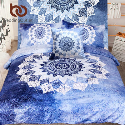Dropshipful 5pcs Bed in a Bag Mandala Floral Bedding Set Queen Size Bohemian Duvet Cover Set Luxury for Bedroom Hot - Dropshipful.com