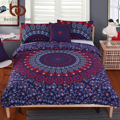 Dropshipful 5pcs Bed in a Bag Floral Bedding Set Queen Size Mandala Pattern Duvet Cover Boho Luxury Bed Set 2015 Hot - Dropshipful.com