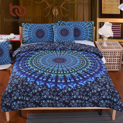 Dropshipful 5pcs Bed in a Bag Bedding Set Twin Full Queen King Blue Mandala Quilt Cover Exotic Pattern Home Textiles - Dropshipful.com