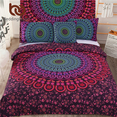 Dropshipful 5pcs Bed in a Bag Bedding Set Bohemian Floral Printed Bedclothes Fixed Combination Bed Cover Twin Full Queen King - Dropshipful.com