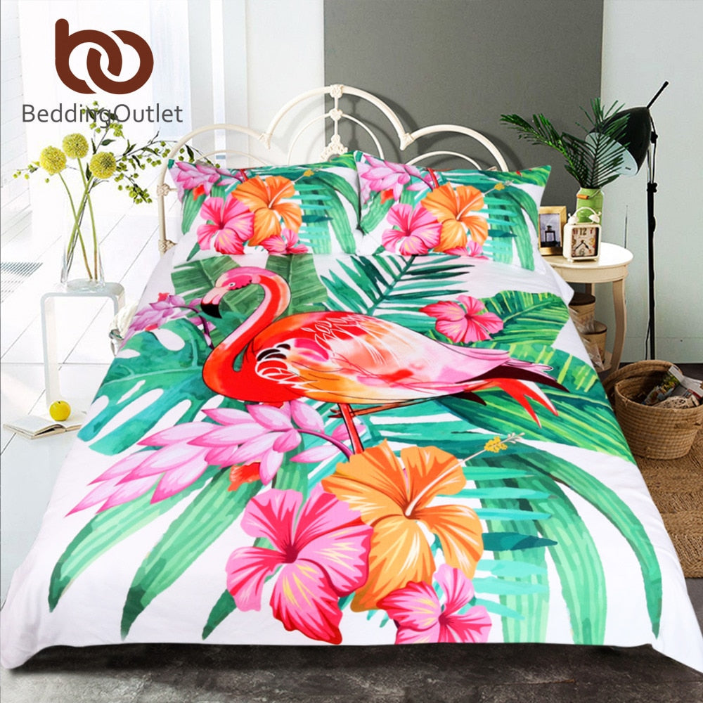 Dropshipful Flamingo Bedding Set Tropical Plant Quilt Cover King Size Home Bed Set Flower Print Pink and Green Bedclothes 3pcs - Dropshipful.com