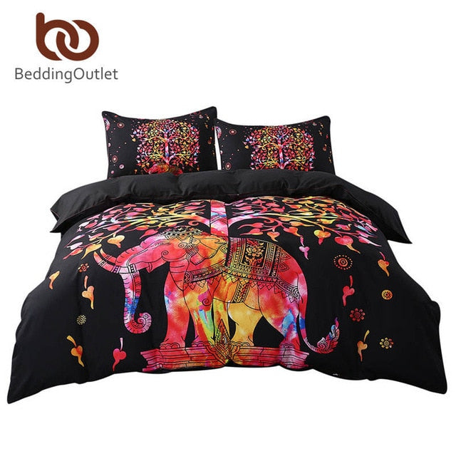 Dropshipful Black Bedding Set Colorful Bohemian Print Duvet Cover and Pillowcase Indian Elephant Exotic Bedclothes Multi Sizes - Dropshipful.com